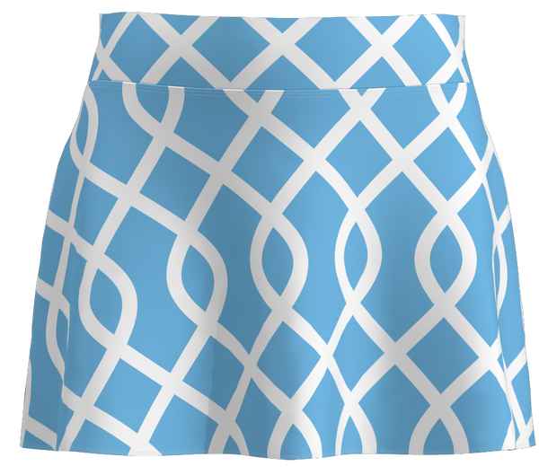 "Light Blue Lattice Print Flounce Golf Skort-15"" - ABSport"