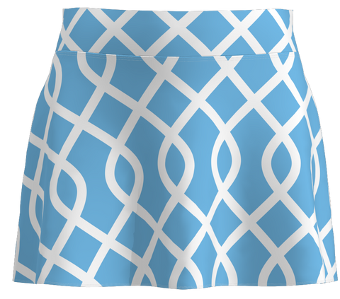 Light Blue Lattice Print Flounce Golf Skort-15""