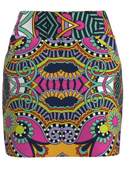 Carnival Print Pull On Golf Skirt - Short Length 15""
