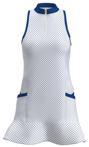 GD003-WNPD : POLKA DOT FLOUNCE GOLF DRESS