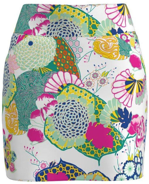 Allie Burke Japanese Garden Print Pull On Golf Skort