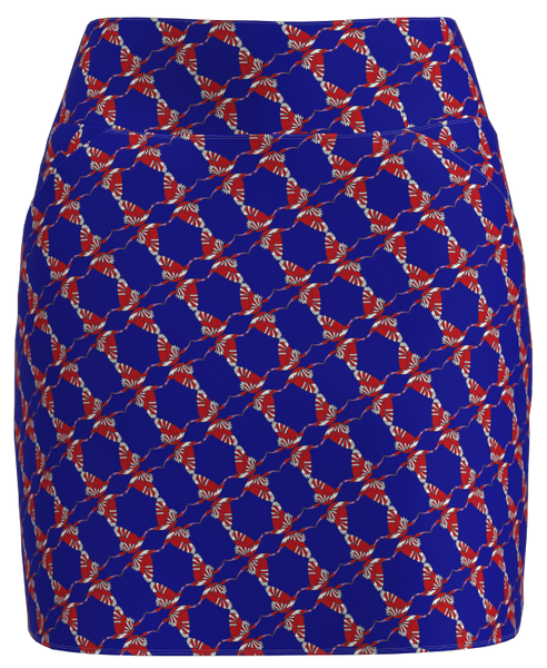 AB Sport Women's Blue Red Bird Print Golf Skort - ABSport