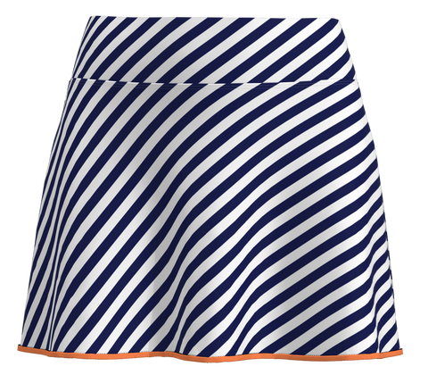 AB SPORT Women's k Navy Cross Stripe Orange Trim Women's Tennis Skirt