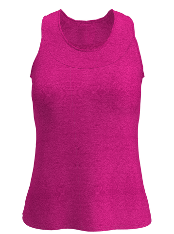 Neon Pink Heather  U-Neck Women's Tennis Tank
