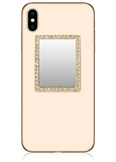 Gold Rectangle Phone Mirror With Crystals