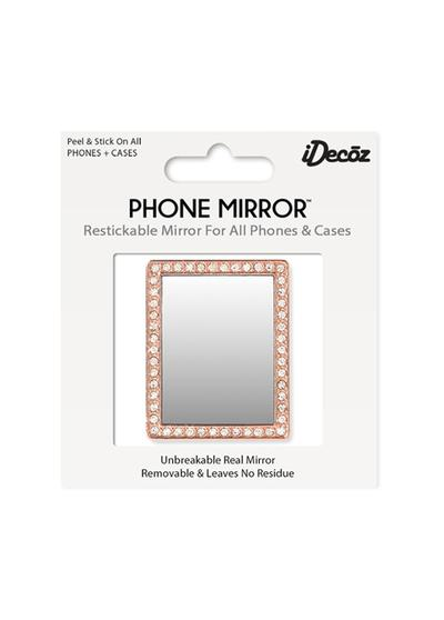 Rose Gold Rectangle Phone Mirror with Crystals