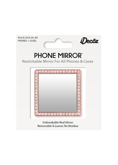 Rose Gold Square Phone Mirror with Crystals