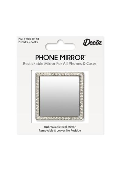 Silver Square Phone Mirror with Crystals