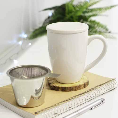 Kassel Ceramic Tea Mug with Lid and Infuser