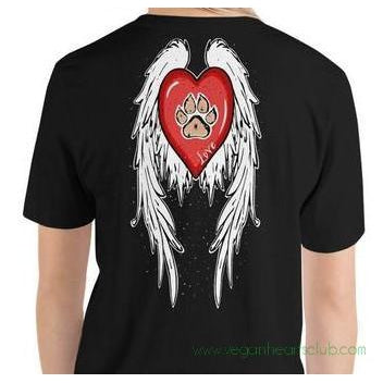 Heart, Dog Paw And Angel Wings Womens dark color Short-Sleeve T-Shirt