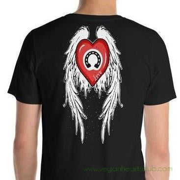 Heart, Horse Shoe And Angel Wings Mens dark color Short-Sleeve T-Shirt