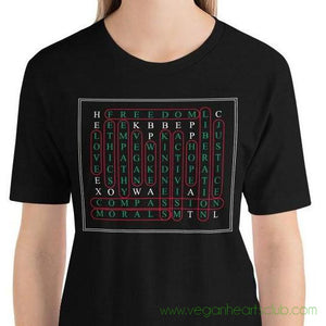 Vegan Word Search Womens dark color Short-Sleeve T-Shirt