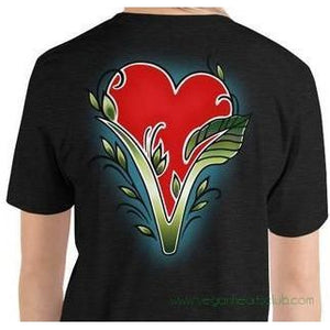 Vegan Heart image (back print) Womens Short-Sleeve T-Shirt