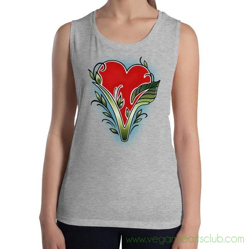 Vegan Heart Womens Tank Top.