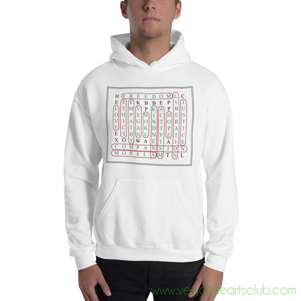 Vegan Word Search Mens light color Hoodie