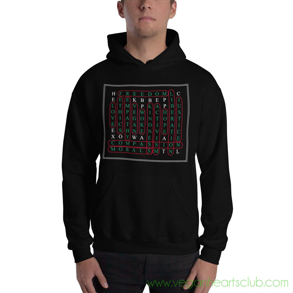 Vegan Word Search Mens dark color Hoodie