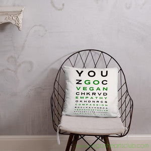 GO VEGAN Eye Chart Basic Pillow  18 x 18