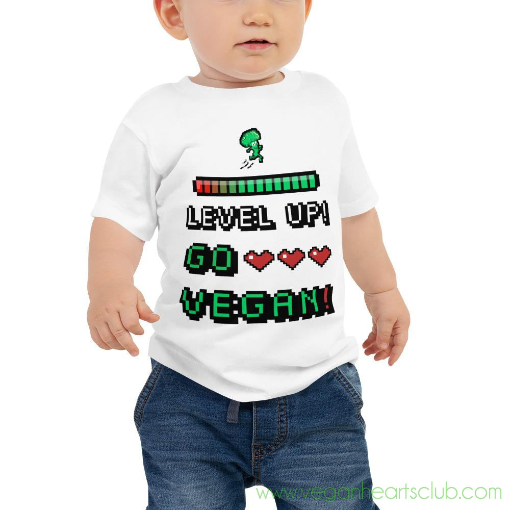 LEVEL UP!  GO VEGAN!  Retro Video Game Design Baby Jersey Short Sleeve Tee