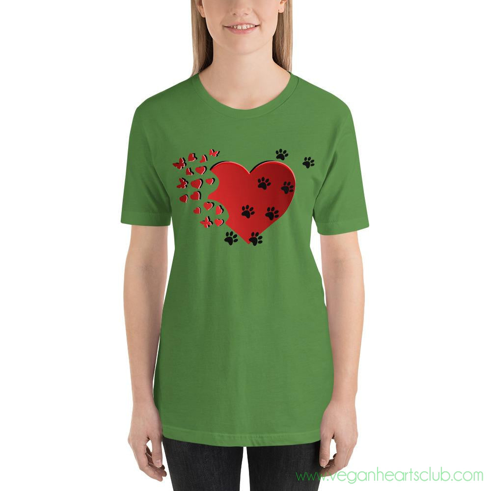 Cat Memories Paw Prints Womens light color Short-Sleeve T-Shirt - Vegan Hearts Club