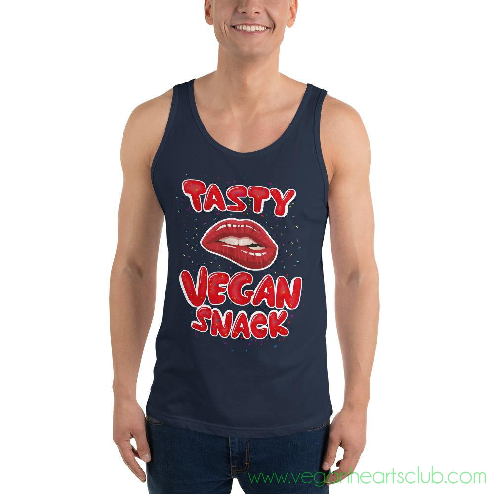 Tasty Vegan Snack Mens dark color Tank Top - Vegan Hearts Club