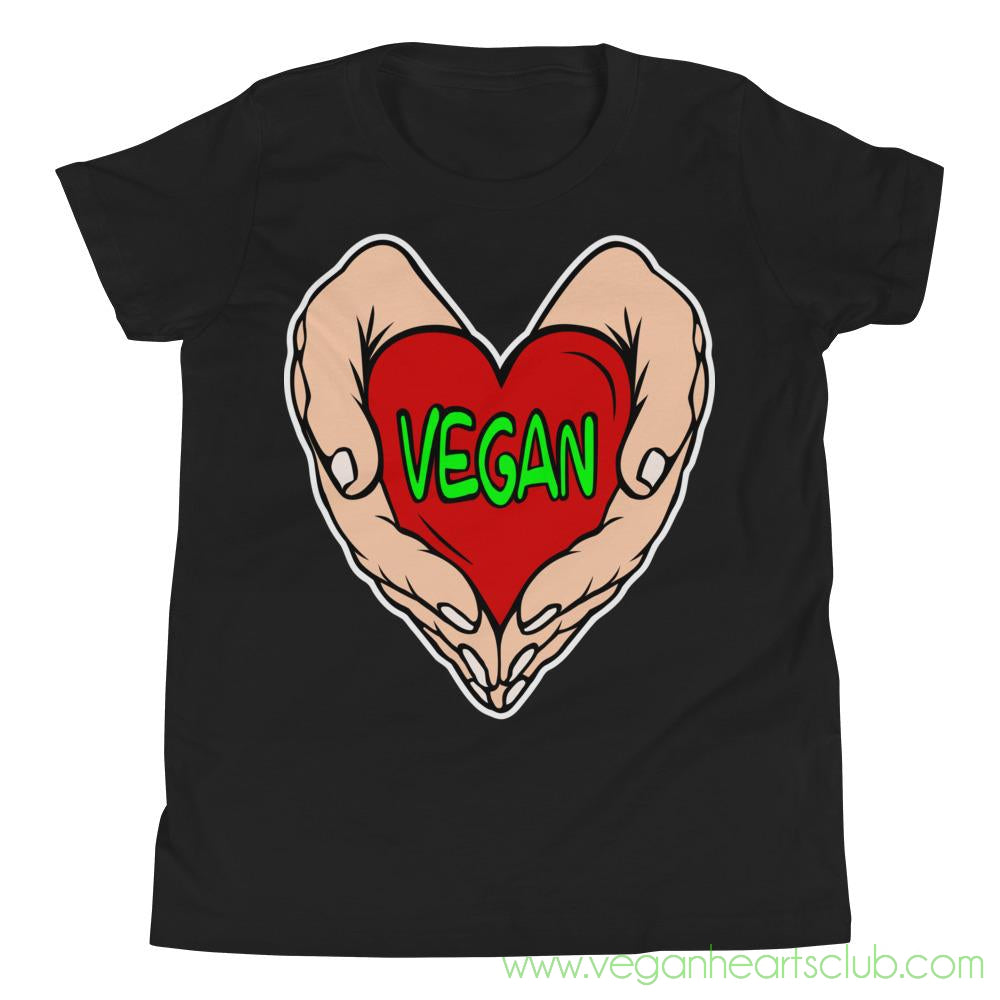 Vegan Heart In Your Hands Version 1C Youth Short-Sleeve T-Shirt