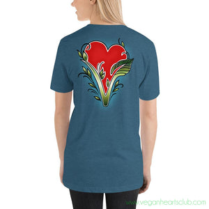Vegan Heart image (back print) Womens Short-Sleeve T-Shirt - Vegan Hearts Club