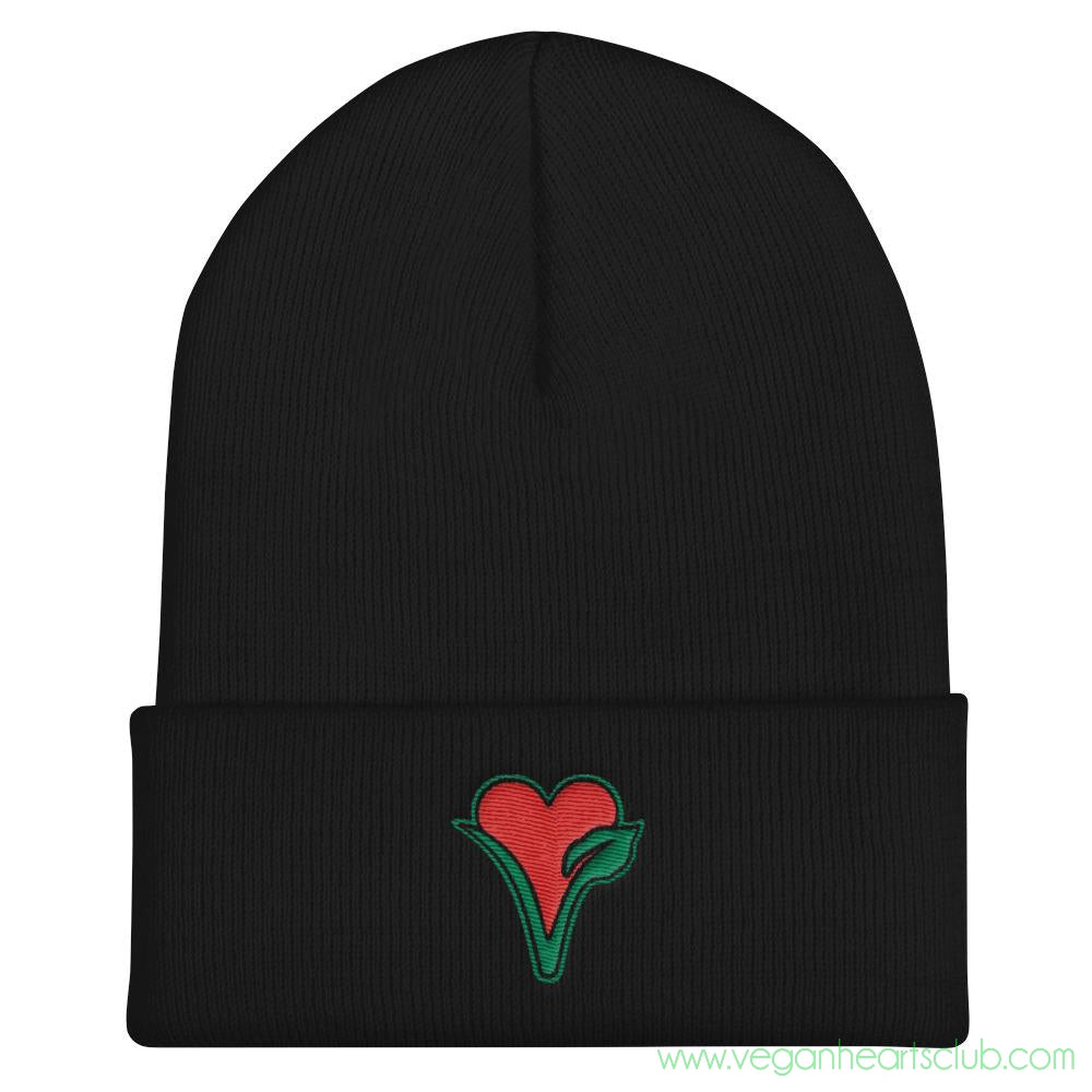 Vegan Heart image Cuffed Beanie - Vegan Hearts Club