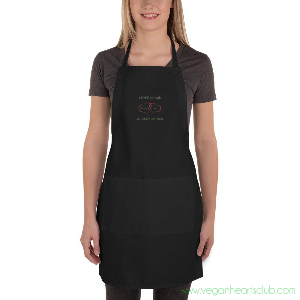 I LOVE Animals dark color Embroidered Apron - Vegan Hearts Club