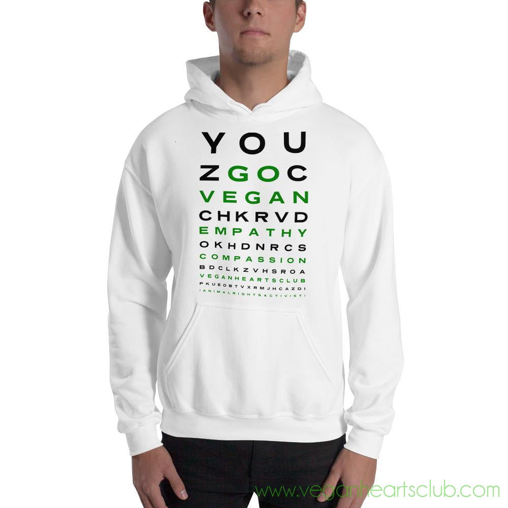 GO VEGAN Eye Chart Mens light color Hoodie