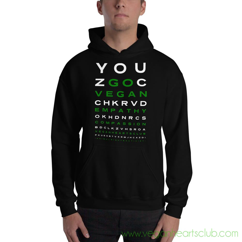 GO VEGAN Eye Chart Mens dark color Hoodie
