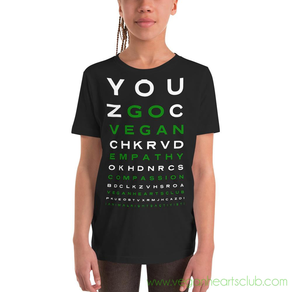 GO VEGAN Eye Chart Youth dark color Short Sleeve T-Shirt