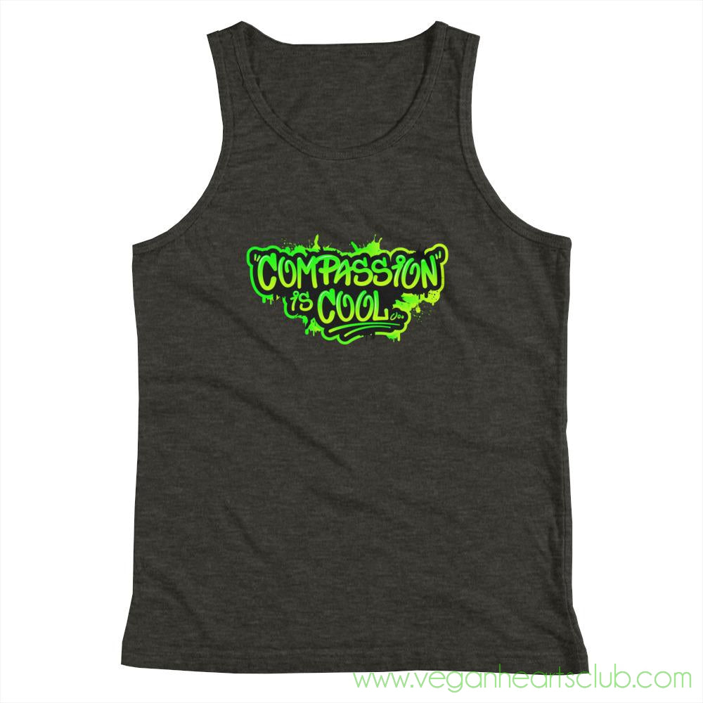 Compassion is COOL Green Graffiti Youth Tank Top