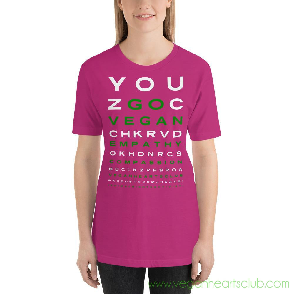 GO VEGAN Eye Chart Womens dark color Short-Sleeve T-Shirt