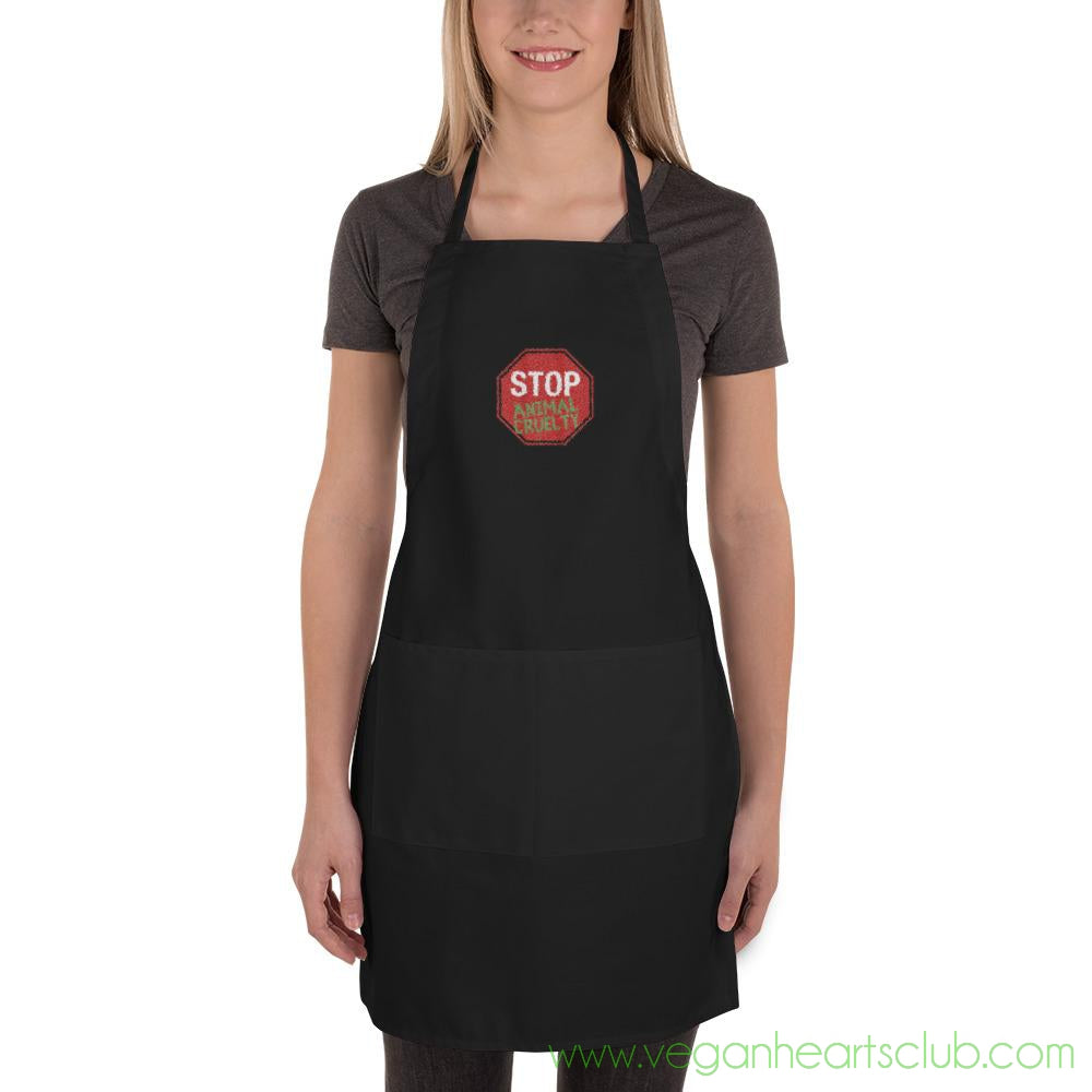 STOP Animal Cruelty Embroidered Apron