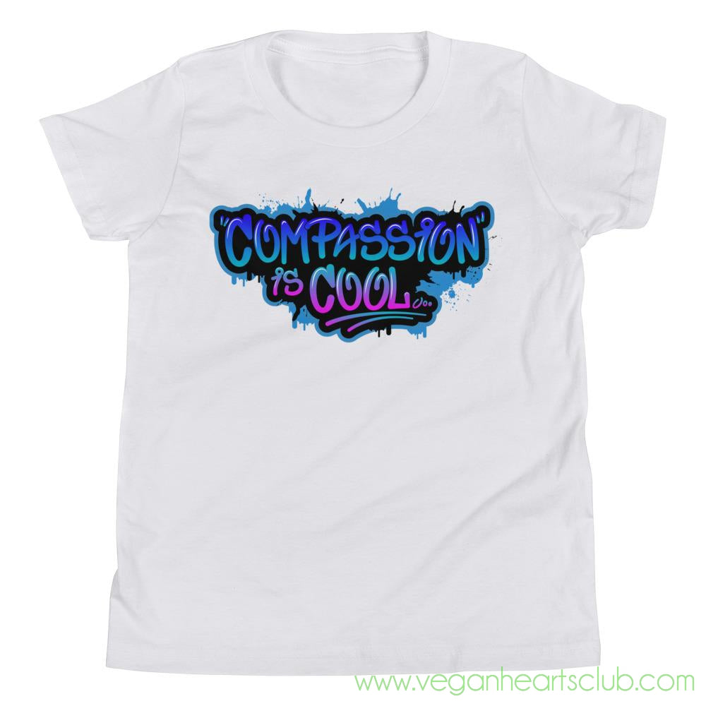 Compassion is COOL Blue Graffiti Youth Short Sleeve T-Shirt