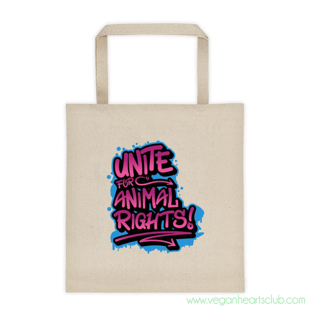 UNITE Graffiti pink impact message Tote bag - Vegan Hearts Club