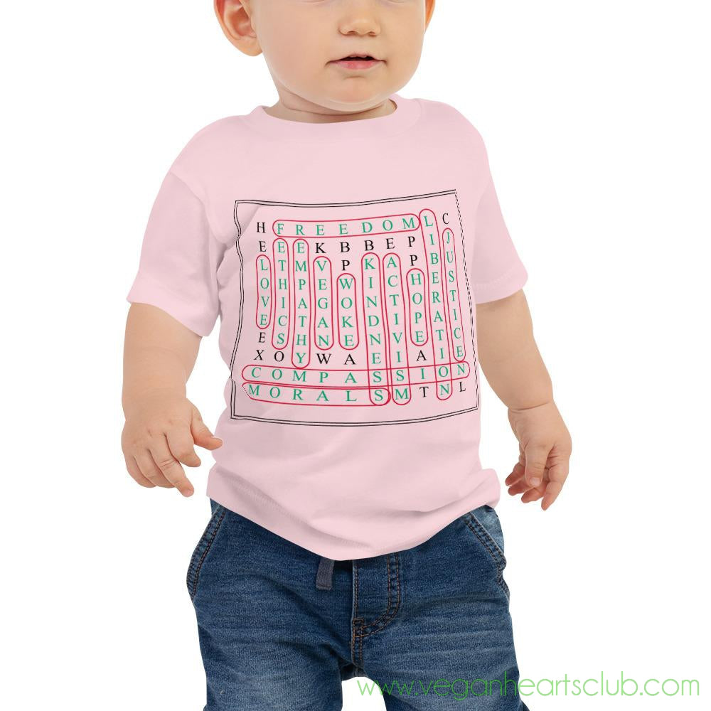 Vegan Word Search Baby light color Jersey Short Sleeve Tee