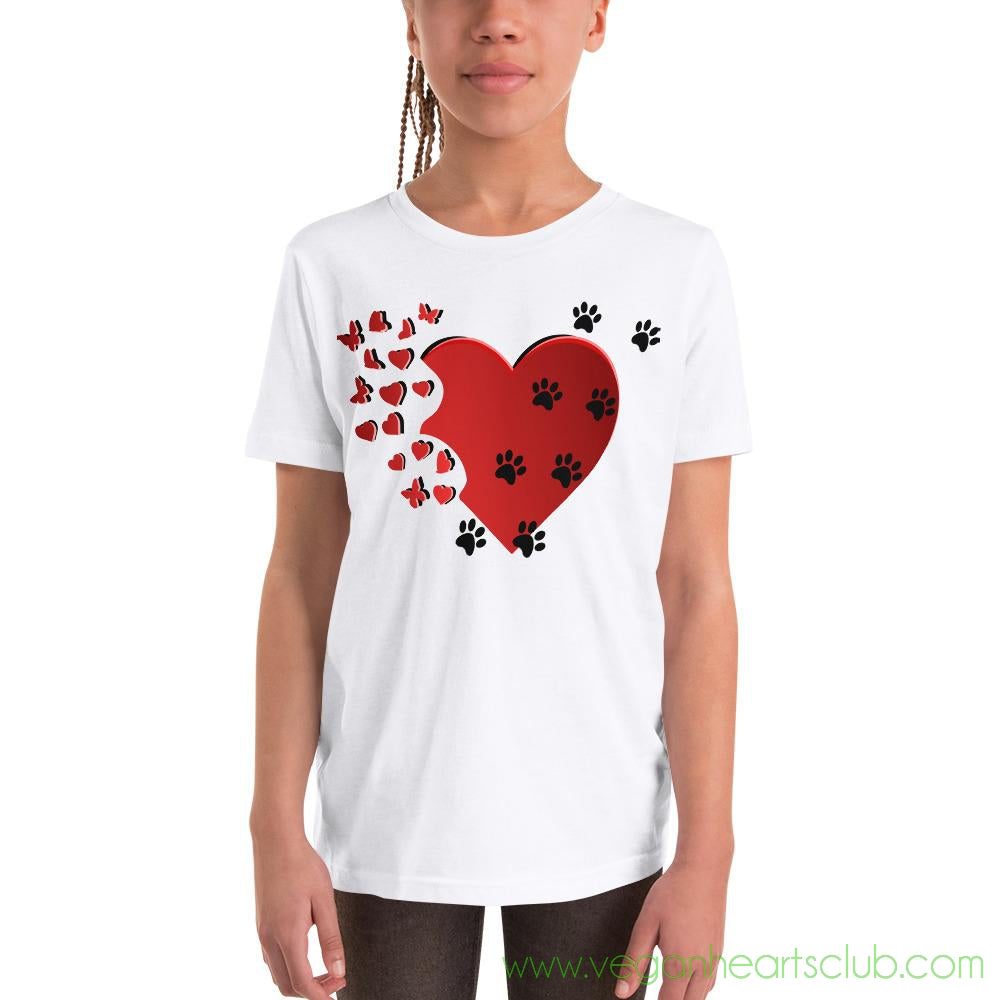 Cat Memories Paw Prints Youth light color Short-Sleeve T-Shirt