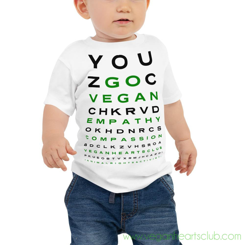 GO VEGAN Eye Chart Baby light color Jersey Short Sleeve Tee