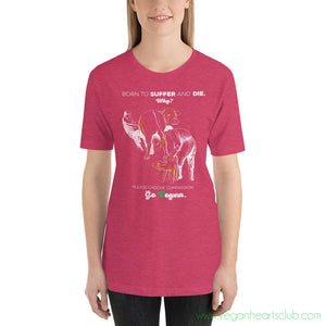 Cows. Born to Suffer and Die. Why? IMPACT message Womens dark color Short-Sleeve T-Shirt - Vegan Hearts Club