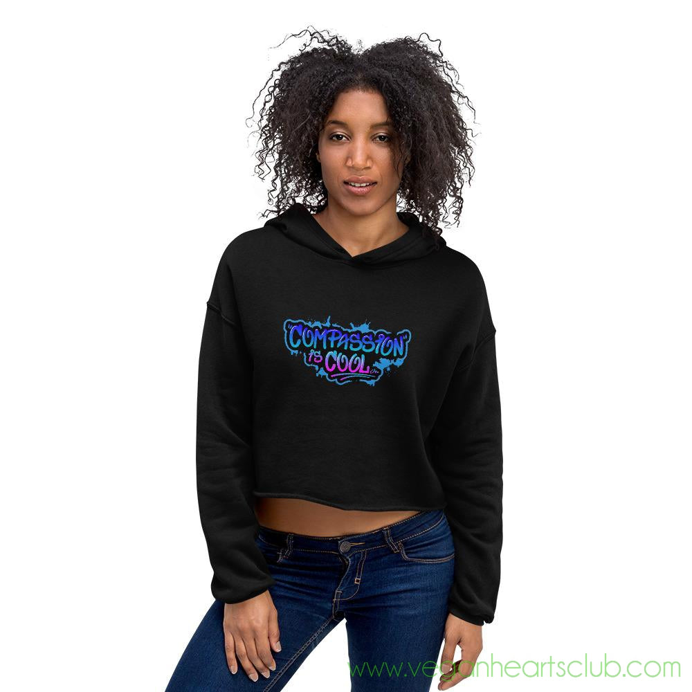 Compassion is COOL Blue Graffiti Womens Crop Hoodie