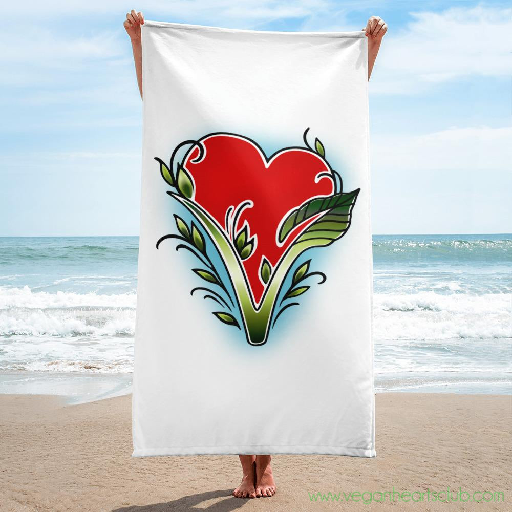 Vegan Hearts Club official logo Towel - Vegan Hearts Club