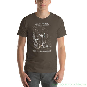 Elephants. Born to Suffer and Die. Why? IMPACT message Mens dark color Short-Sleeve T-Shirt - Vegan Hearts Club