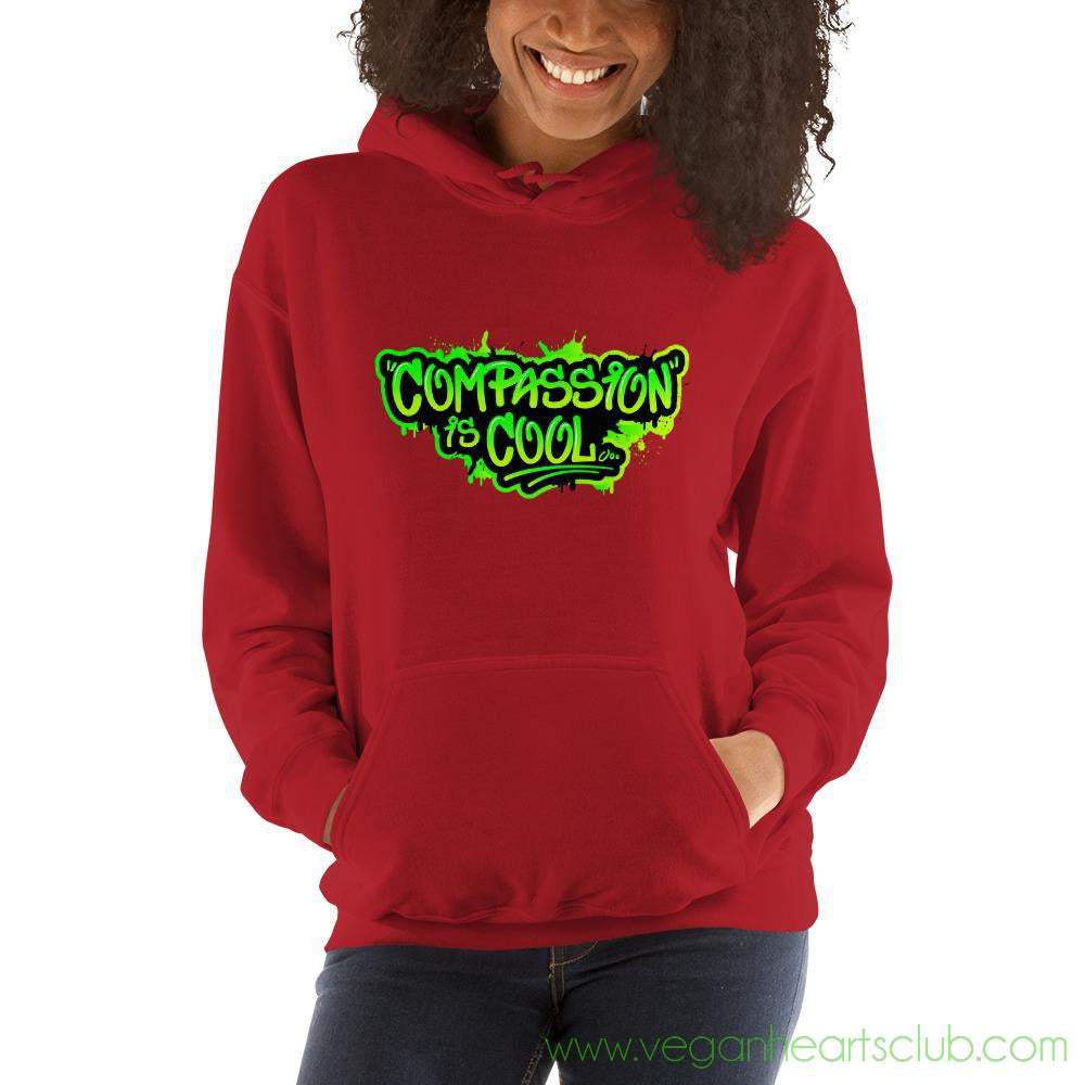 Compassion is COOL Green Graffiti Womens Hoodie