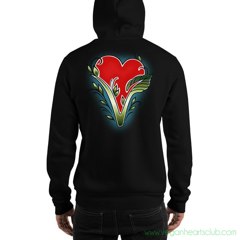Vegan Heart image Mens Hoodie - Vegan Hearts Club