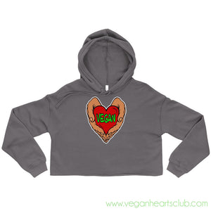 Vegan Heart In Your Hands Version 1A Womens Crop Hoodie