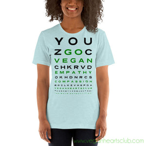 GO VEGAN Eye Chart Womens light color Short-Sleeve T-Shirt