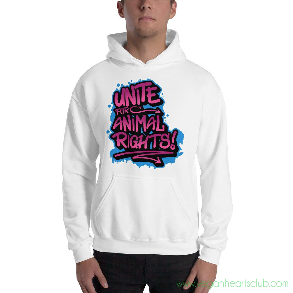 UNITE Graffiti pink impact message Mens Hoodie - Vegan Hearts Club