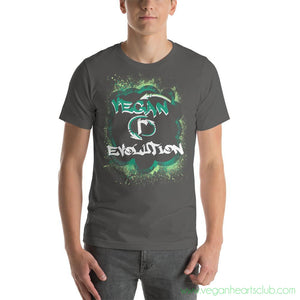 VEGAN (r)EVOLUTION Graffiti Mens dark color Short-Sleeve T-Shirt - Vegan Hearts Club