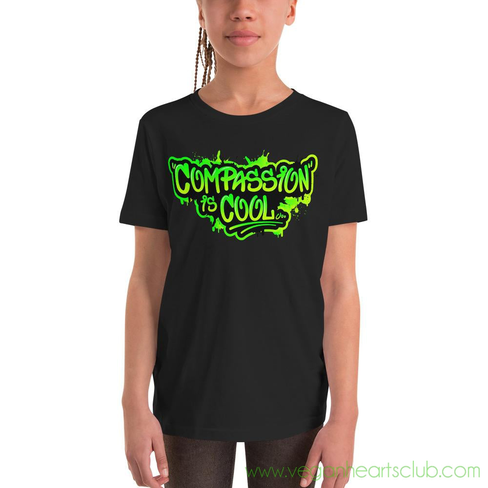 Compassion is COOL Green Graffiti Youth Short Sleeve T-Shirt